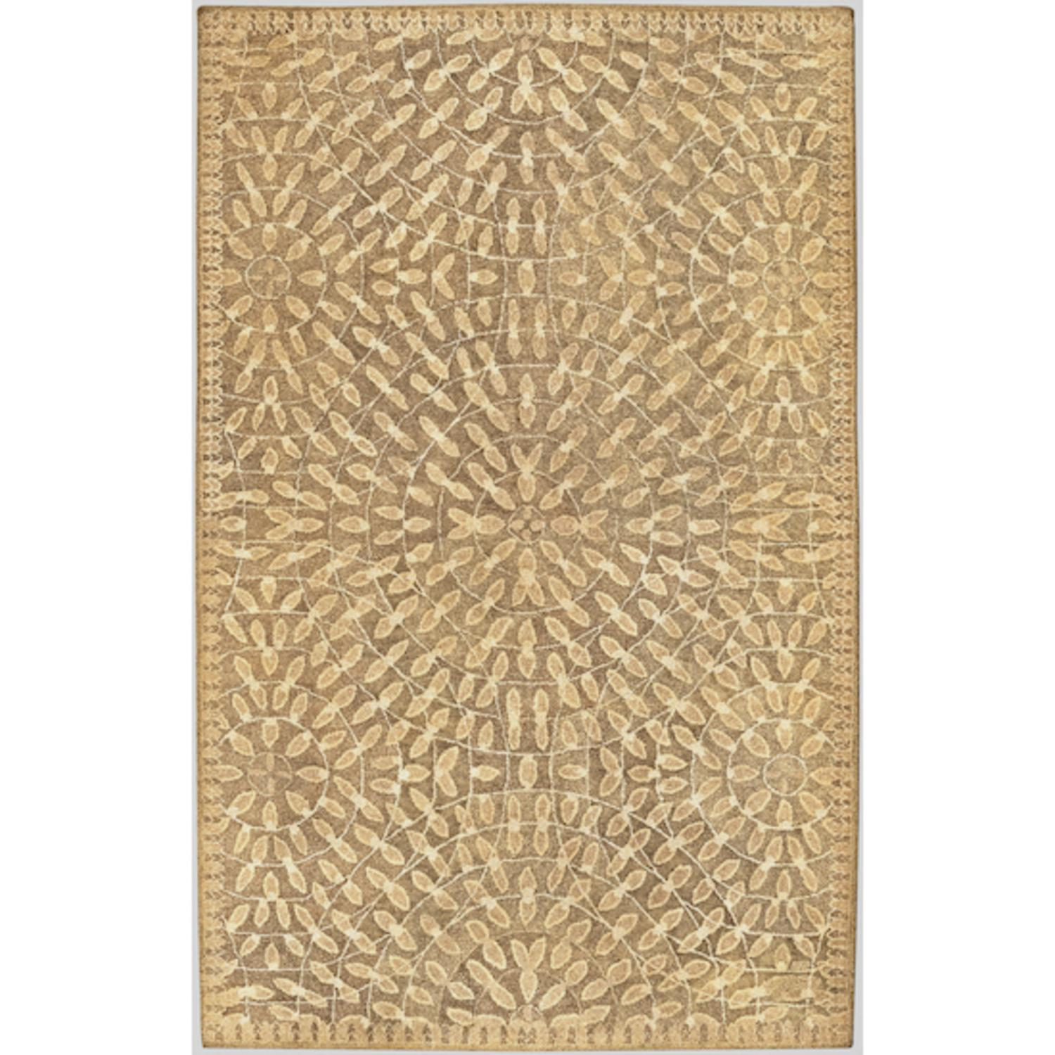 9' x 13' Tawny Mosaic Dark Khaki and Safari Tan Wool Area Throw Rug