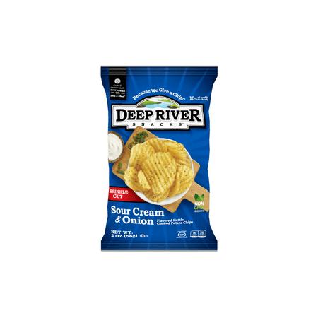 - (Price/Case)Deep River Snacks 21641 Kettle Potato Chip Sour Cream & Onion Krinkle Cut 24-2 Ounce