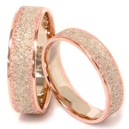 matching his hers 14k rose white gold wedding bands - Rose Gold Wedding Ring