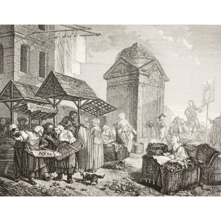 The Market In The Place Maubert Paris In The 18Th Century After A Work By Jeaurat From Xviii Siecle Institutions Usages Et Costumes Published Paris 1875 Stretched Canvas - Ken Welsh  Design Pics (18th Century Place)