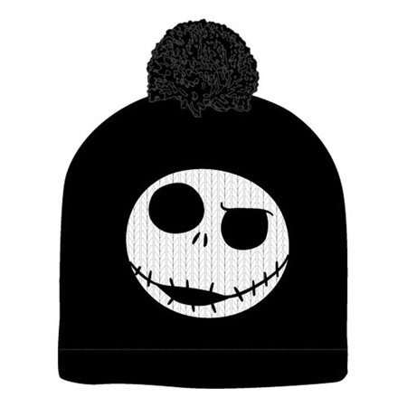 235623cba8e56 The Nightmare Before Christmas Jack Skellington Pompom Black Beanie Winter  Hat - image 1 of 1 ...