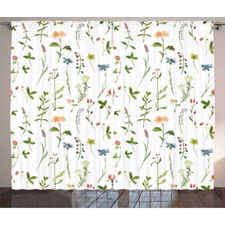 Floral Curtains 2 Panels Set, Spring Season Themed Watercolors Painting of Herbs Flowers Botanical Garden Artwork, Window Drapes for Living Room Bedroom, 108W X 84L Inches, Multicolor, by (Botanical Garden)