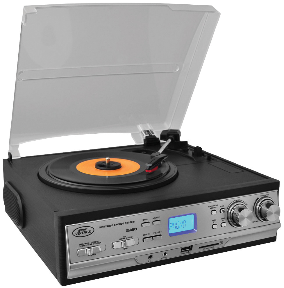 Pyle PTTCS9U Classic Retro Style Turntable Perp