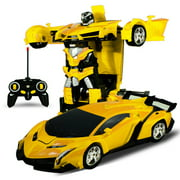 Kids RC Cars(Yellow), Transform Car Robot, One Button Transformation 362°Rotating Drifting Remote Control Toy Car, Best Christmas Gift for Kids and Adults
