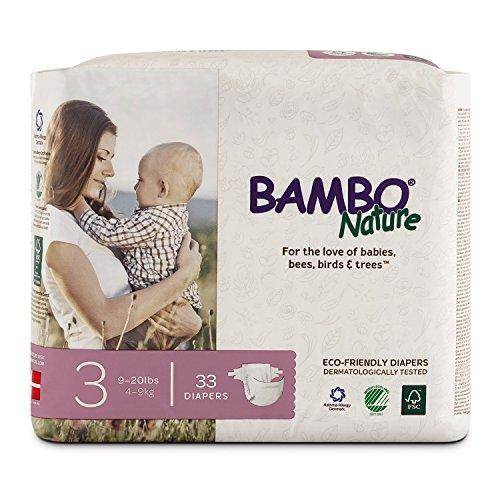 Bambo Nature Premium Baby Diapers, Size 3, 33 Count, New, Free Ship