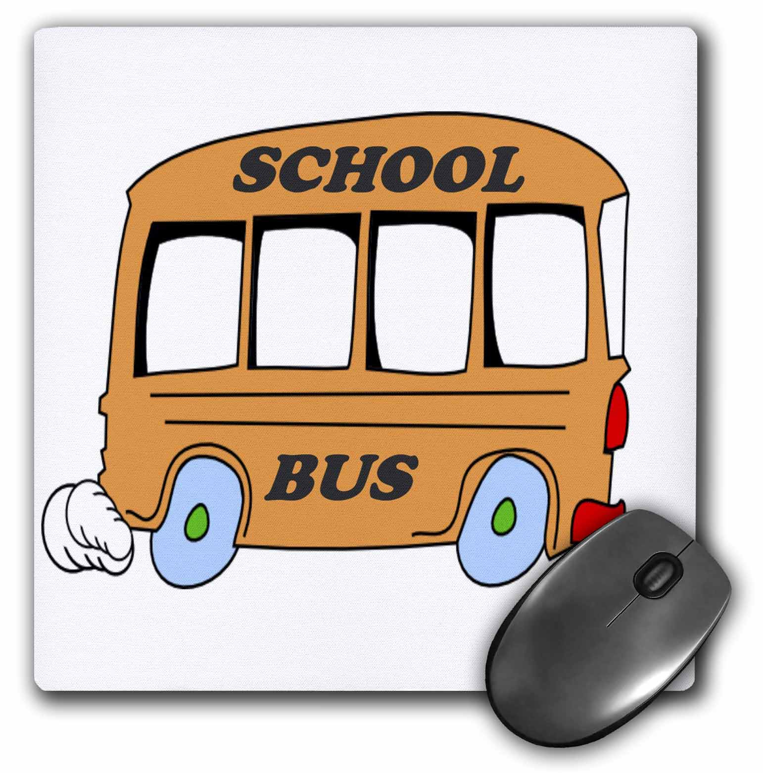 3dRose Orange School Bus, Mouse Pad, 8 by 8 inches
