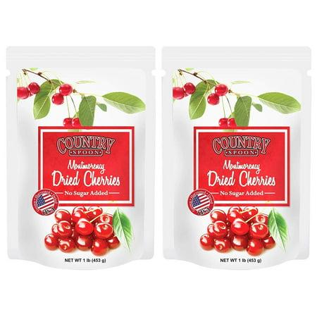 No Sugar Added Dried Tart Montmorency Cherries by Country Spoon (1 lb. 2 Pack) Montmorency Tart Cherries