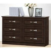 Baxton Studio Colburn 6-Drawer Dark Brown Finish Wood Storage Dresser