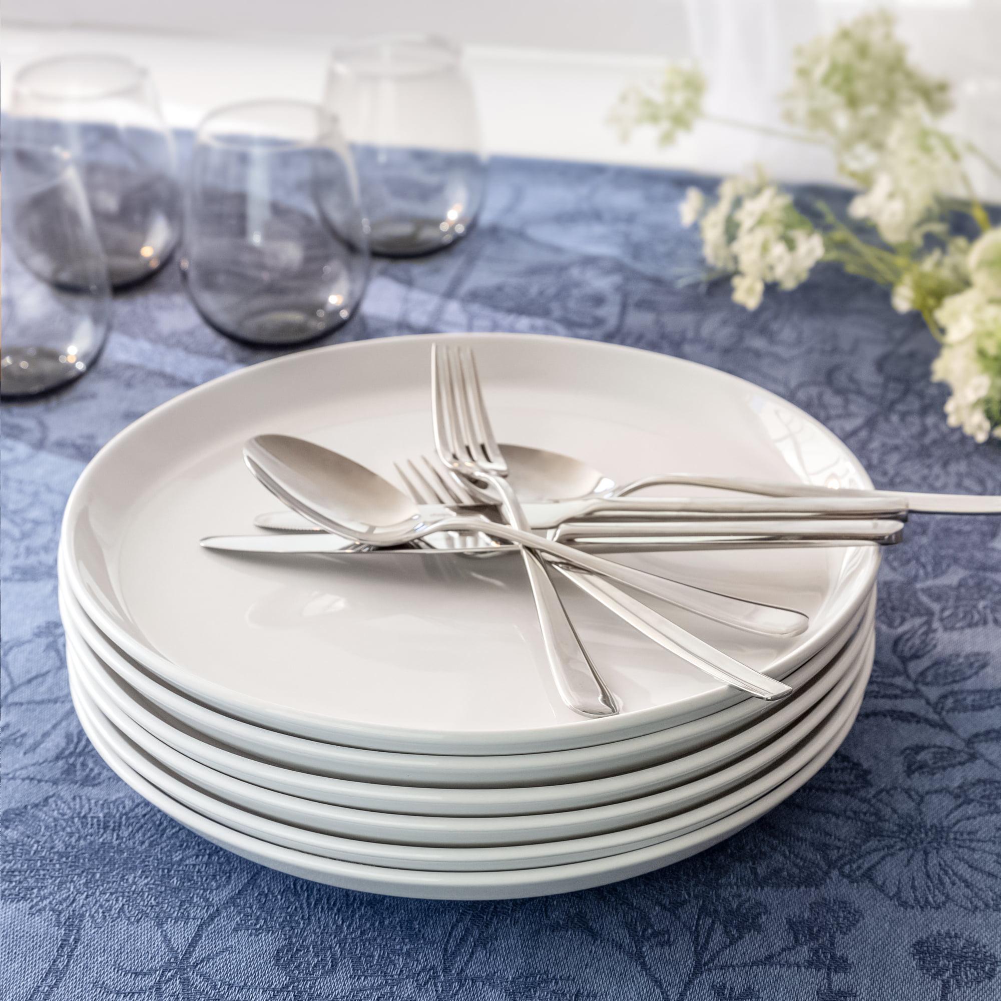 Better Homes Gardens Collins Round Porcelain Modern Dinner Plates Set Of 12 White Walmart Com Walmart Com