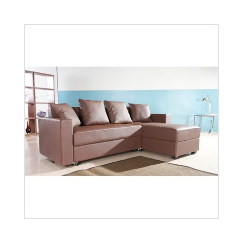 SunQube Home Essentials San Jose Leatherette Convertible Sectional Storage Sleeper Sofa in