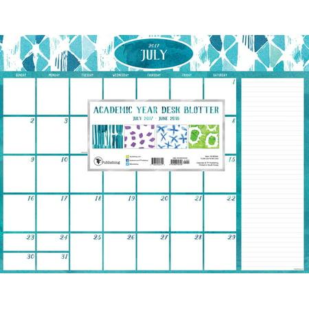 July June Academic Year Watercolor Desk Blotter Calendar - Desk blotter calendar