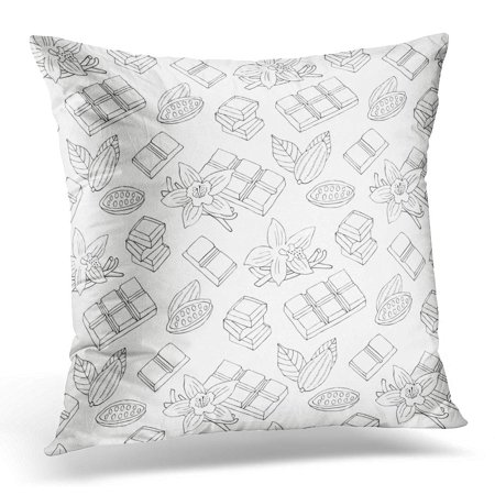 ECCOT Brown Doodle Chocolate with Vanilla Flower Cacao Bean Drawn Pillowcase Pillow Cover Cushion Case 18x18 inch