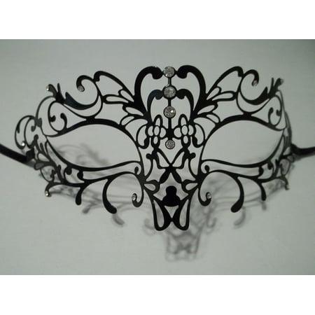 Filigree Vine Metal Black Venetian Masquerade Ball Mardi Gras Laser Cut Mask](Masks For Masquerade Ball)