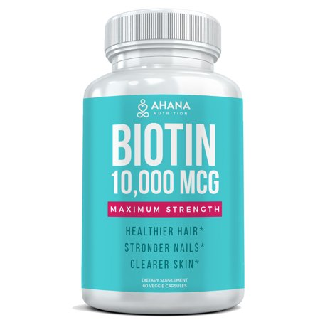 Ahana Nutrition Biotin Hair Vitamins 10,000mcg Per Serving - Longer, Stronger & Shinier Hair With Less Breakage