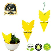LIGHTSMAX Sticky Bug, Gnat, and Fruit Fly Trap: Yellow Dual Sided Glue Insect Catcher to Control Bugs Indoor and Outdoor - Traps Fruit Flies, Aphids and Flying Pests in Potted Plants (25)