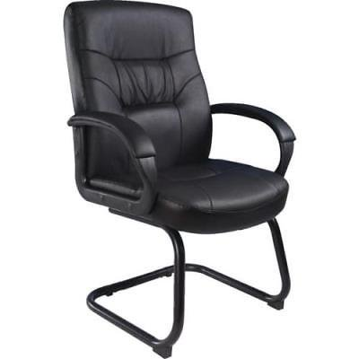 Boss LeatherPlus Executive Guest Chair, Padded Armrests, Sled Base, Black