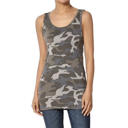 TheMogan Women's Army Camouflage Print Fitted Jersey Tank Top Sleeveless Camo Tee