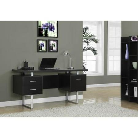 Monarch Specialties Cappuccino Hollow Core Silver Metal 60 Inch Office Desk