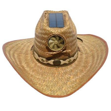 Kool Breeze Solar Cooling Straw Hat - Cowboy (L) for $<!---->