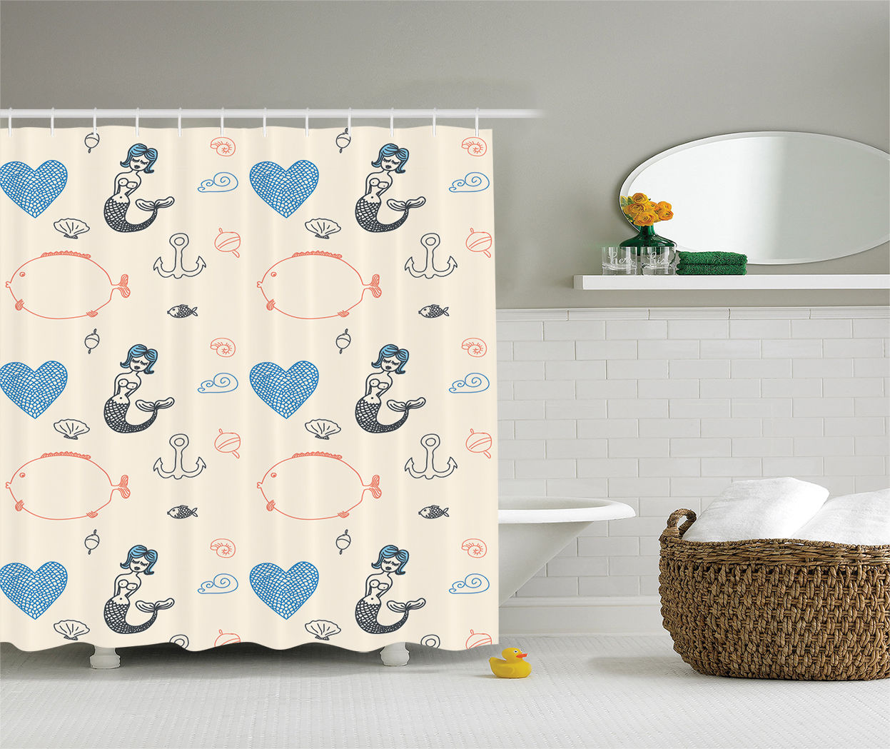 Exceptionnel Kids Decor Mermaid Balloon Fish Hearts Sea Objects, Bathroom Accessories,  69W X 70L Inches, By Ambesonne