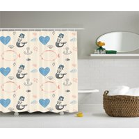 Kids Decor  Mermaid Balloon Fish Hearts Sea Objects, Bathroom Accessories, 69W X 70L Inches, By Ambesonne