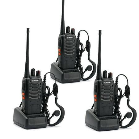 UBesGoo 3 Pcs Baofeng BF-888S UHF 400-470Mhz Handheld Walkie Talkie Radios 888S Headsets ()