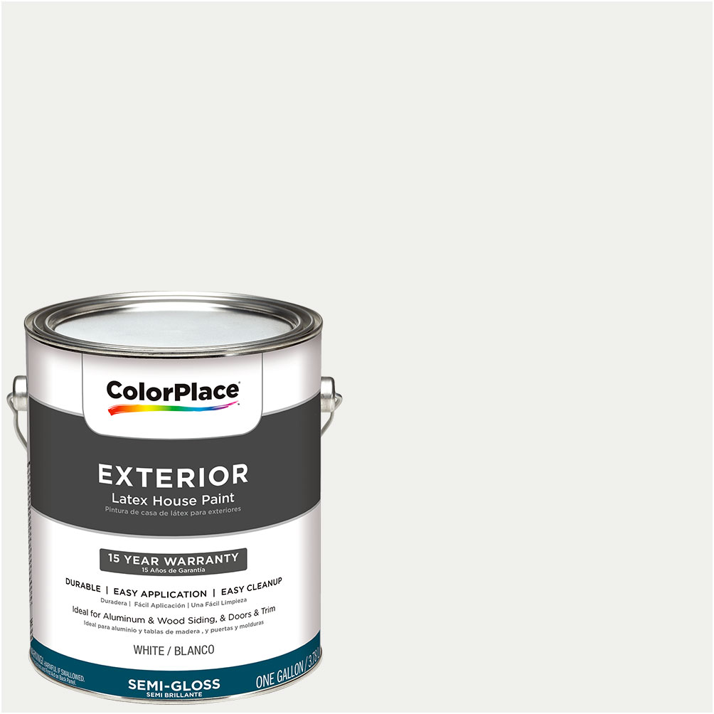 ColorPlace Exterior White Semi-Gloss Paint 1 Gallon - Walmart.com