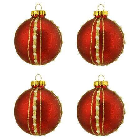 - Northlight Seasonal Swirls and Striped Design Glass Ball Christmas Ornament (Set of 4)