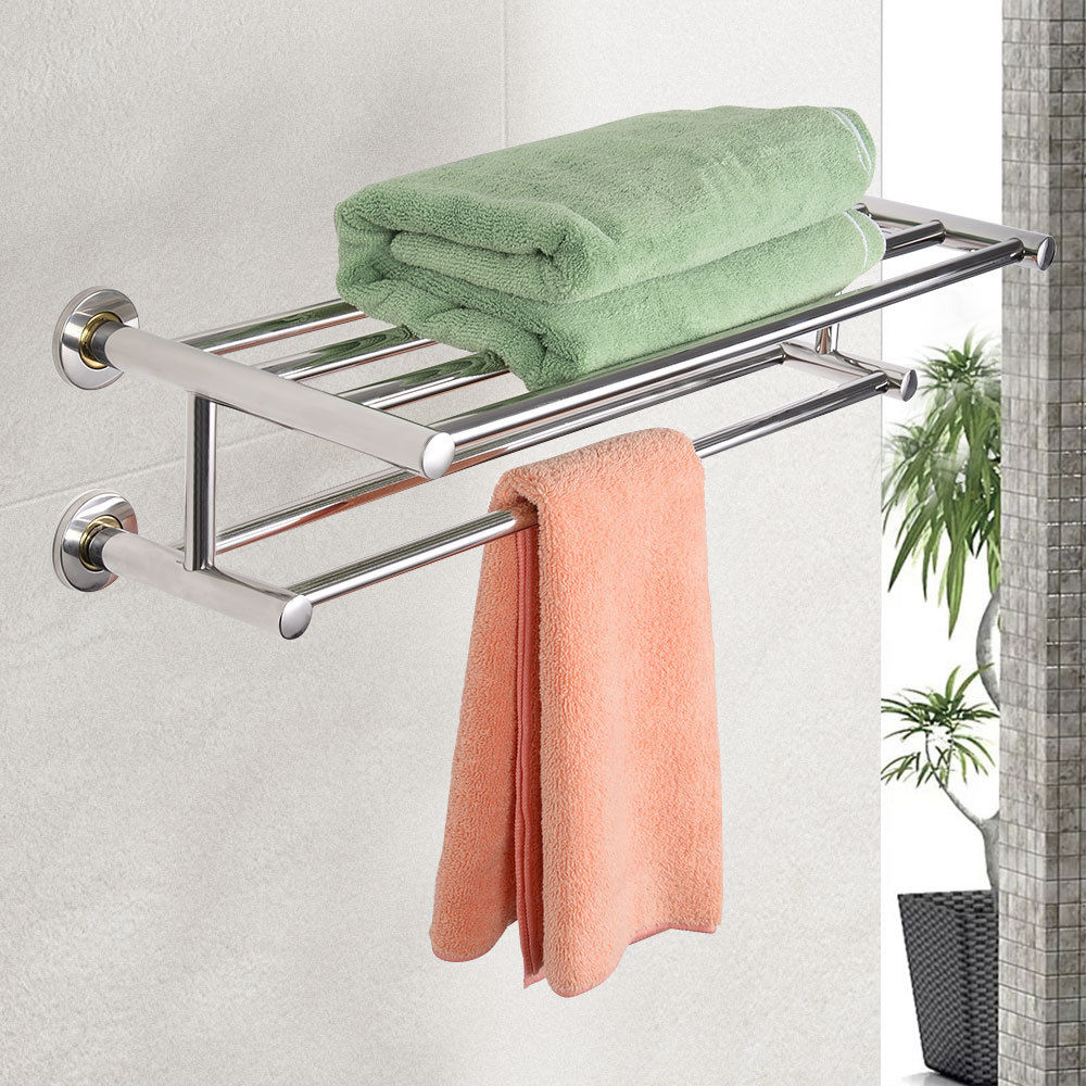Costway Wall Mounted Towel Rack Bathroom Hotel Rail Holder Storage ...