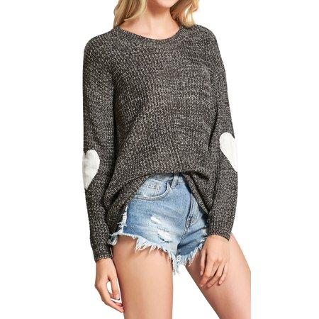 WLLW Women Heart Pattern Patchwork Round Neck Long Sleeve Knits Sweater Pullover