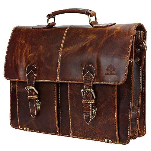 Vintage Leather Bazaar Dark Brown Handcrafted Genuine Leather DSLR Camera Bag Briefcase Messenger Crossbody Bag 16 Inch