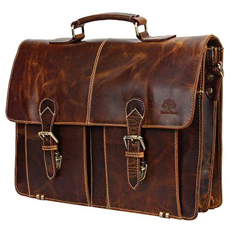 887194d2dd46 Leather Shoulder-Briefcase Messenger Bag Mens Handmade 16 inch  Laptop-Satchel