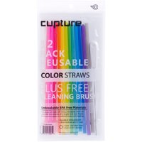 Cupture® Reusable & Unbreakable Color Straws - 12 Count + Free Brush