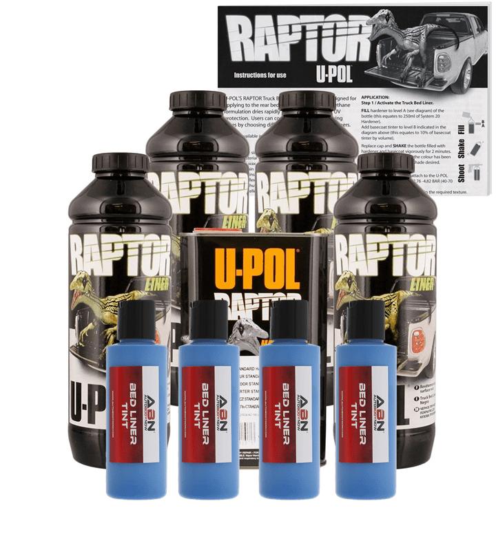 U-POL Raptor Tintable Reflex Blue Bed Liner & Texture, 4 Liters Upol