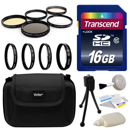 Professional Lens and Filters for Sony Alpha includes Transcend 16GB SD Memory Card, Deluxe Carrying Case, 4 Piece Close Up Macro Filter Kit, 5 Piece Professional Filters Set, Camera Cleaning Set