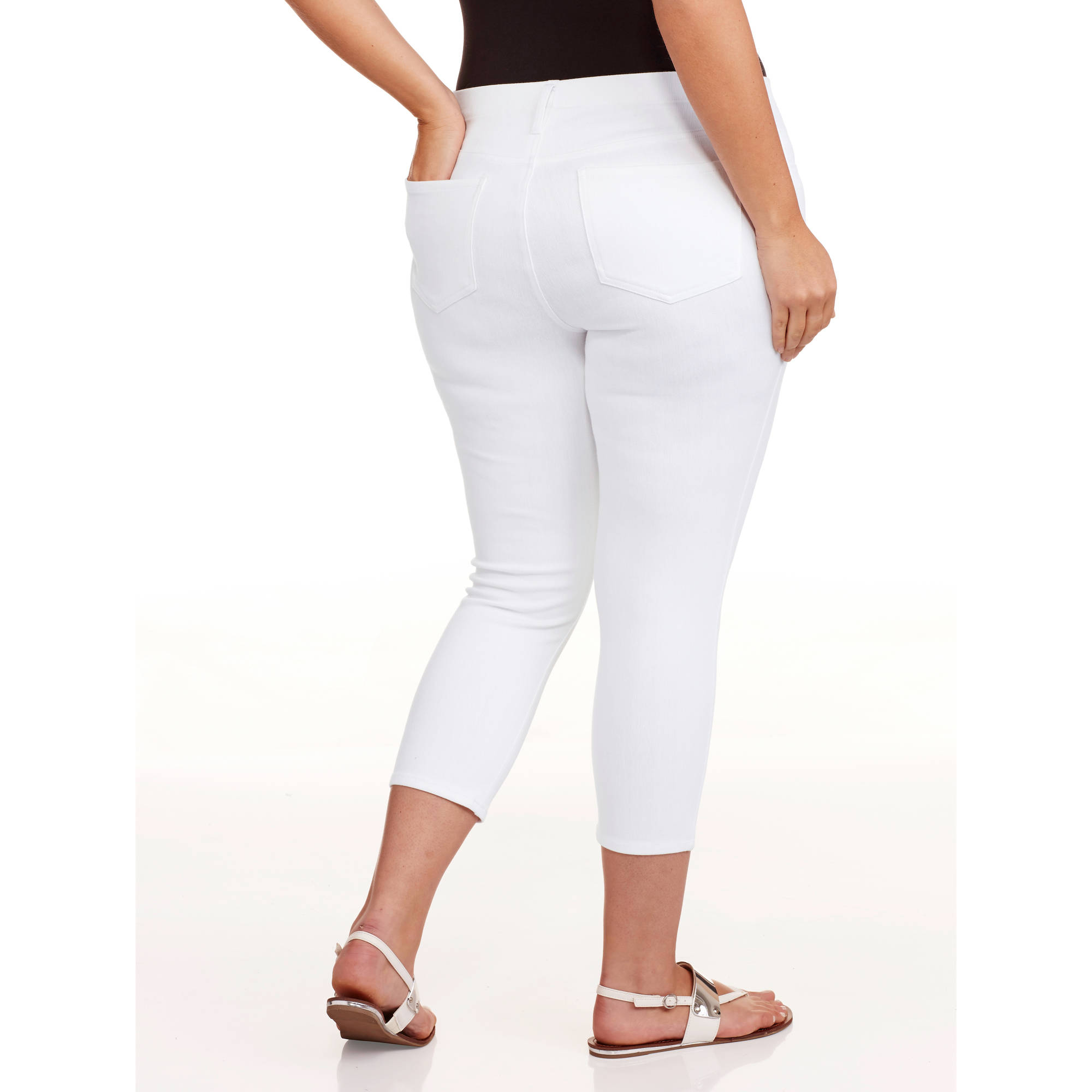 a6fb35bc81f Faded Glory - Women s Plus-Size Capri Jeggings - Walmart.com