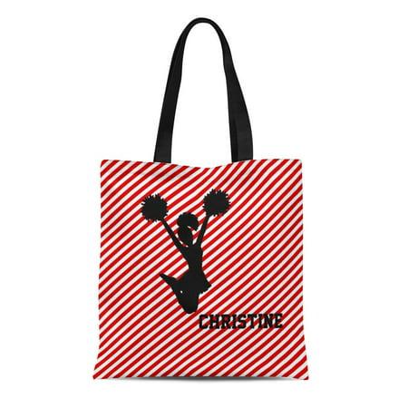 - SIDONKU Canvas Tote Bag Room Red Striped Cheerleader Stripes Patterns Cheer Cheerleading Custom Reusable Handbag Shoulder Grocery Shopping Bags