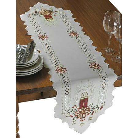 Seasonal Holiday Christmas Candles Holiday Embroidered Design Table Runner ()