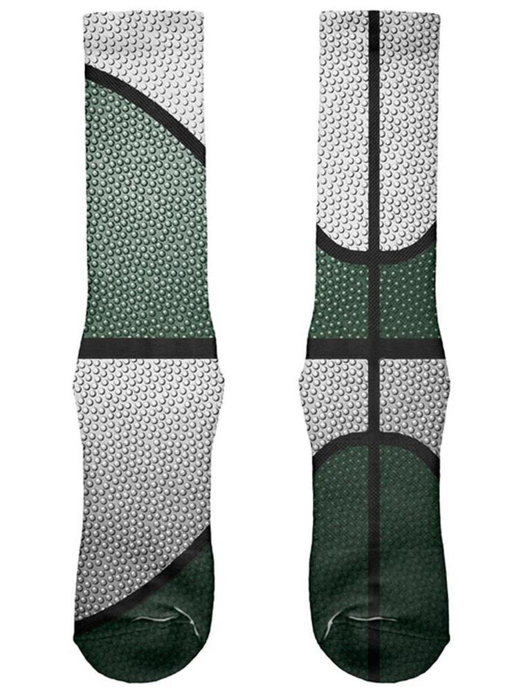 Championship Basketball Forest Green & White All Over Soft Socks