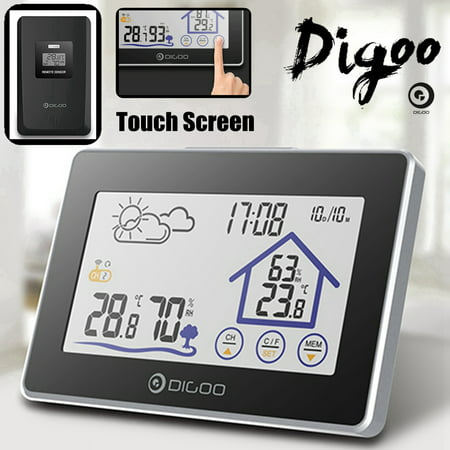 Digoo DG-TH8380 Wireless Weather Station,LCD Touch Screen,Thermometer Humidity Indoor & Outdoor (°C/°F) Forecast Sensor