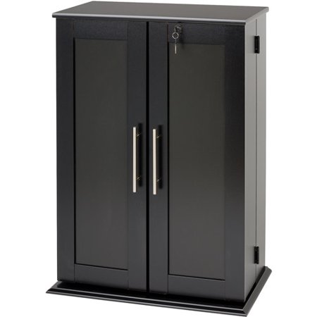 Small Deluxe Media Storage Cabinet with Locking Shaker Doors - Small Deluxe Media Storage Cabinet With Locking Shaker Doors