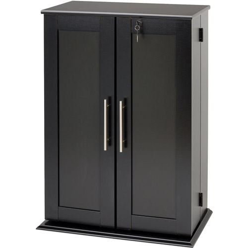 Beau Small Deluxe Media Storage Cabinet With Locking Shaker Doors