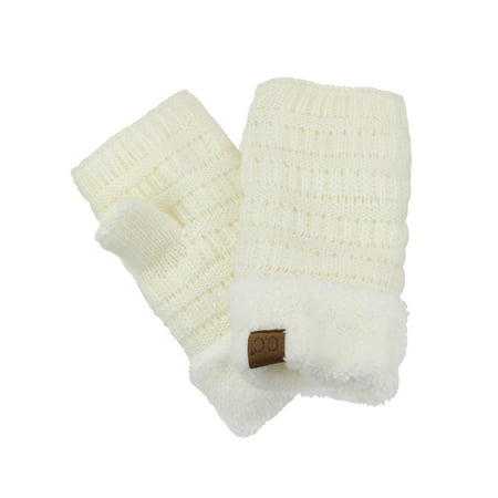 C.C Women's Warm Knit Fingerless Half Finger Fleece Lined Winter Gloves-Ivory