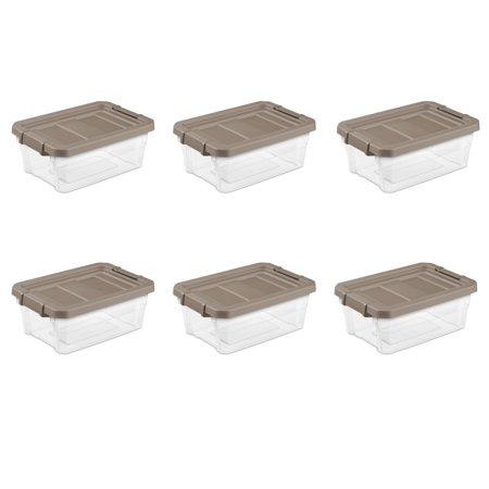 Plastic Stacker (Sterilite, 16 Qt./15 L Stacker Box, Taupe Splash, Case of)
