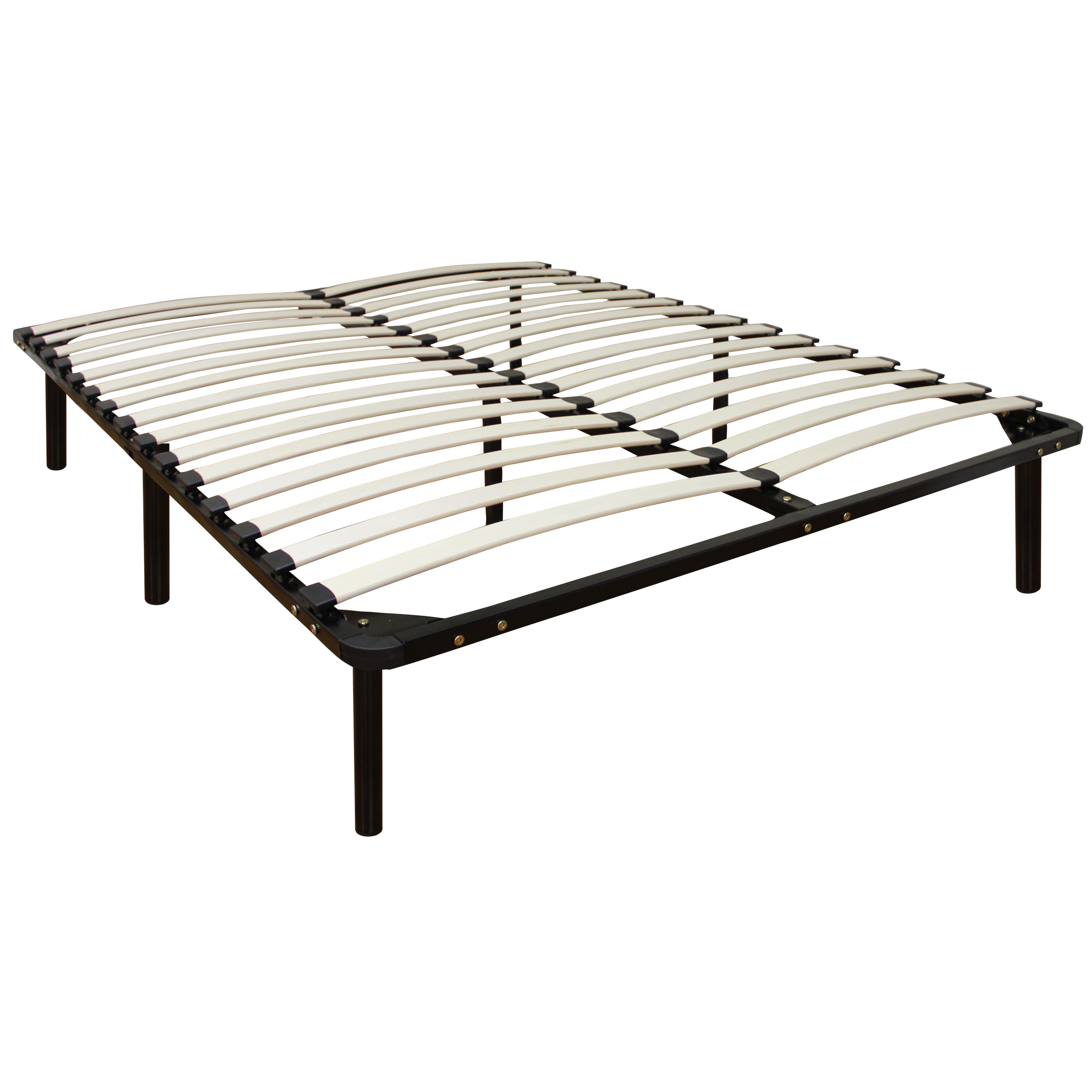 Modern Sleep Europa Wood Slat and Metal Platform Bed Frame | Mattress Foundation, Multiple Sizes