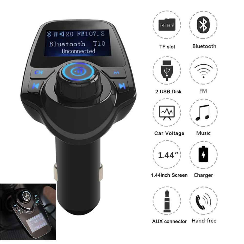 Car Mp3 Player Wireless Bluetooth Fm Transmitter FM Modulator HandsFree Car Kit A2DP 5V 2.1A USB Charger For iPhone Samsung T11