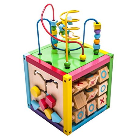1 Learning Activity Cube (6-in-1 Play Cube Activity Center - Wood)