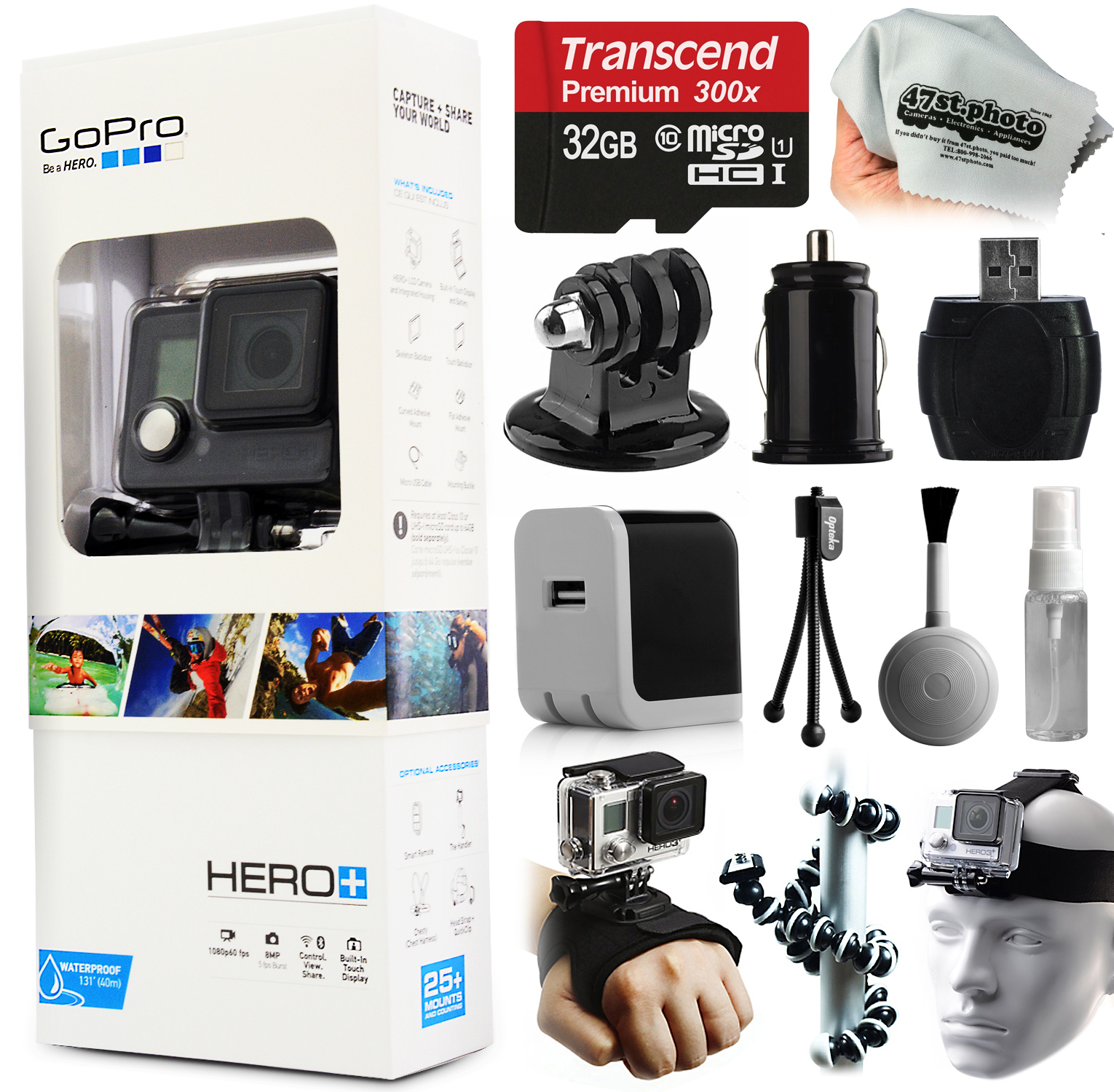 GoPro HERO+ Camera Camcorder (CHDHC-101) with Starter Accessories Kit includes 32GB Card + Home & Car Charger + Head Helmet Strap + Hand Glove + Flexible Octopus Tripod + Dust Cleaning Kit + More
