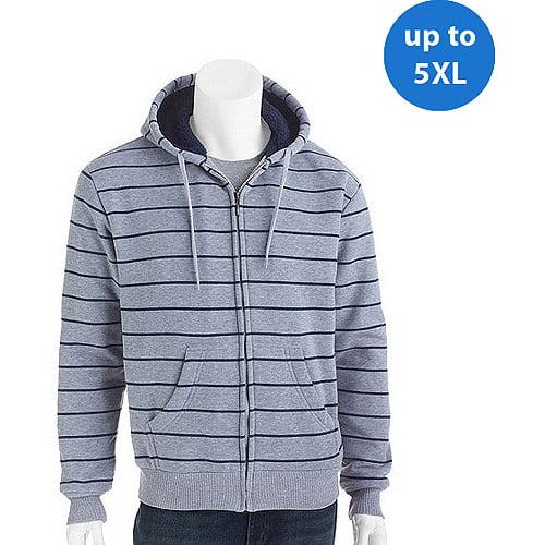Big Men's Printed Stripe Fleece Jacket with Sherpa Lining