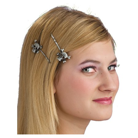 Pirate or Gothic Accessory Skull Metallic Pewter Silver Hair Pins (Pirate Hair Accessories)